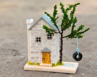 miniature house, wood house, tiny house, american house, Swing on the tree, home decor, English style, fortress, Castle, palace, palace