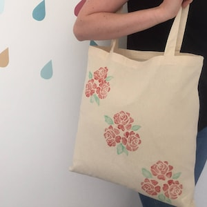 Hand Printed cotton Tote Bag with the Lino Print Happy Camper/' design. Valentines gift Mothers Day Gift
