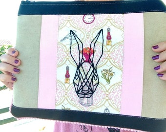 b0e1a9cc1f Geometric rabbit tattoo inspired whimsical Alice in wonderland inspired  oversized clutch bag