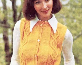 Diamond Panel Vest/ Womans Waistcoat/ Instant PDF Digital Download Vintage Knitting Pattern-  665