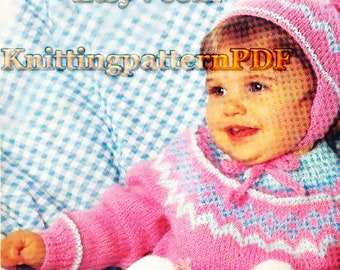 Fair Isle PDF Knitting Pattern for Children / Pullover, Leg Warmers, Hat Set/ Instant Download/4 Sizes/Knitting Pattern- 43