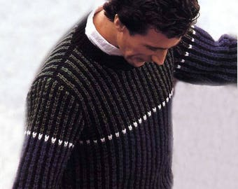 INSTANT DOWNLOAD-Knitted Sweater-  Knitting Pattern-Mans Pullover- Pdf Pattern -115