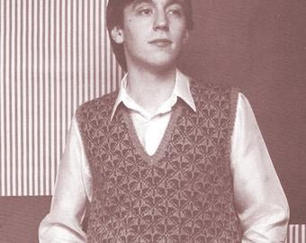 Instant   Download PDF Knitting Pattern a  Handsome Mans Slip-Over/ Fair Isle Mens Vest/Knitting Pattern- A206