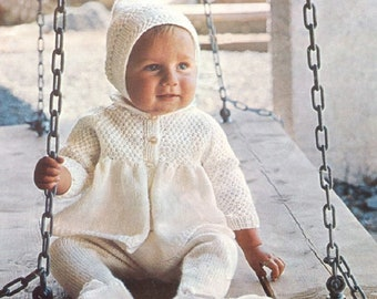 PDF Knitting Pattern for Baby Coat, Leggings, Bonnet, Hood and Mitts Set - Instant Download/3 sizes /Knitting Pattern- A382