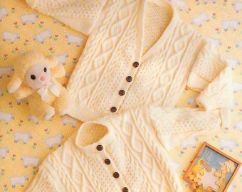 Instant   Download PDF Knitting Pattern for Baby's Aran  Cardigan/6 – 24 months/Knitting Pattern- 758