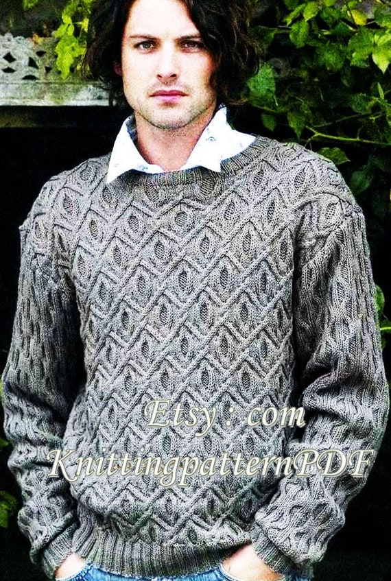 Mens Sweater Knitting Pattern Mens Cable Jumper Dk Pdf Etsy