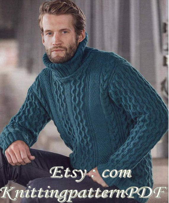 Mens Aran Pullover Aran Sweater Pattern For Men Pdf Etsy
