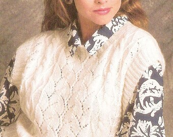 Lacy Pullover Vest/ Womans Waistcoat/ Instant PDF Digital Download Vintage Knitting Pattern-  134