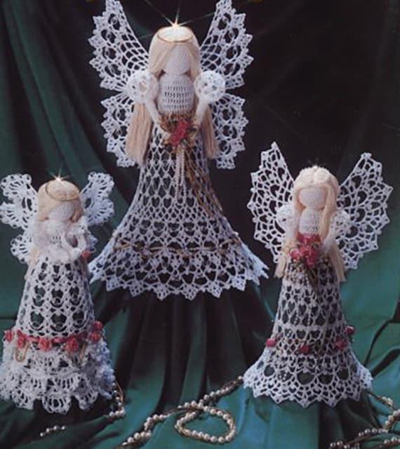 Crochet Christmas Clothespeg Angels  tree decorations