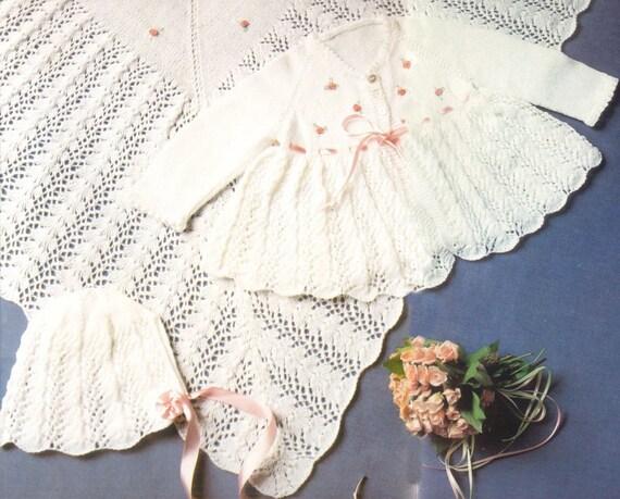 Pattern Pdf Knitted Babys Layette Dress Matinee Jacket Etsy