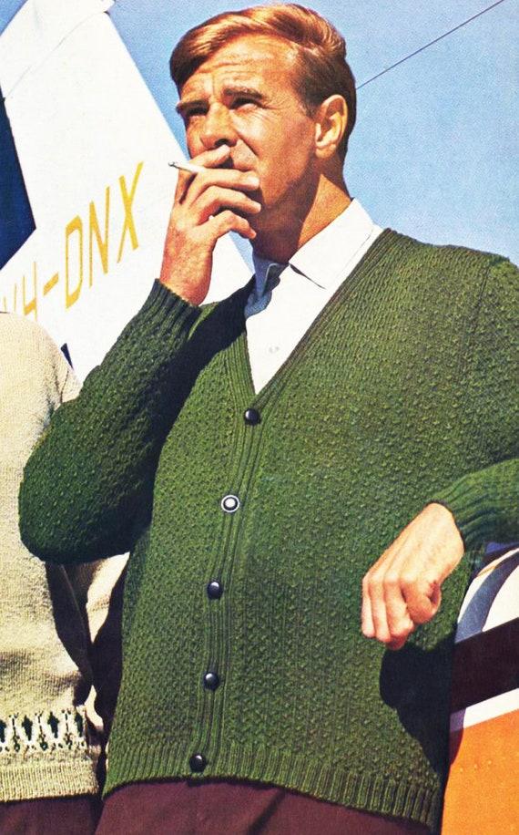 Vintage Knitting Pattern A Handsome Mens Cardigan Jacket For Etsy