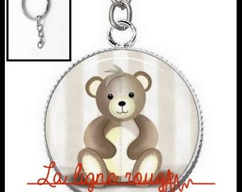 Key silver cabochon 25 mm resin Teddy bear pattern in the morning (204) - plush, cuddly, child