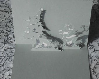 """Kirigami Christmas card: """"the DOE and her Fawn"""""""