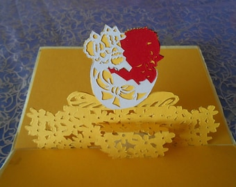 """kirigami holiday card: """"the chick out of his shell"""""""