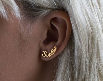Name Earring - Personalized Earring - Personalized Jewelery - Valentine's gift - Custom Earrings - Name Ear Climber - Gold Earring - Persona