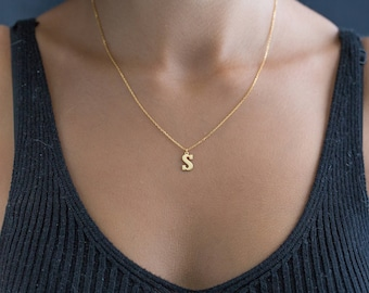 14K Gold Initial Necklace - Letter Necklace - Personalized Initial Necklace - Custom Initial Necklace - Gold Letter Necklace - Letter Choker