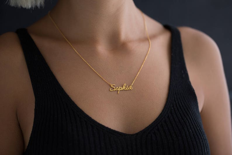 Tiny Name Necklace  Personalized Gift  Gold Filled Jewelry  image 0