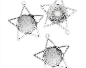 Set of 2 lace edged cabochon 18 mm Silver Star