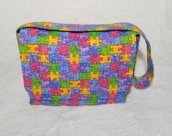 Puzzle piece messenger bag, toddler messenger bag, kids messenger bag, travel baby bag, baby diaper bag, baby shower gift, autism awareness