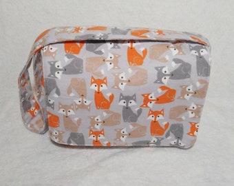 Gray fox messenger bag, toddler messenger bag, kids messenger bag, travel baby bag, baby diaper bag, baby shower gift, mini diaper bag