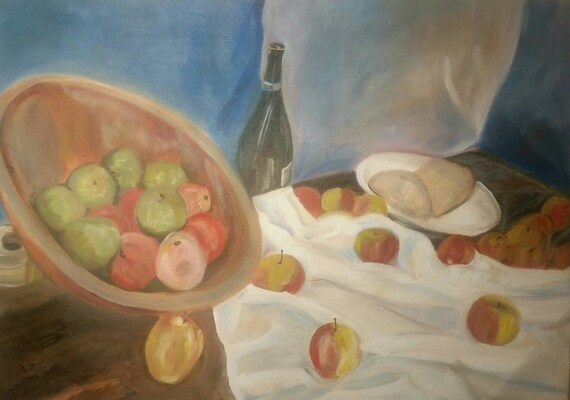 Original Oil Painting On Canvas Paper Bowl Of Apples By Piret Randam