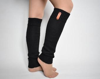 1806db6fdb5 Wool with alpaca wool knitted black leg warmers warm long dance socks boot  toppers sport boot yoga socks for women beige white gray pink