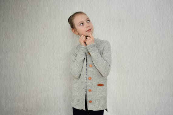 e41269118bd8 WOOL ALPACA knitted cardigan with buttons for kid warm sweater