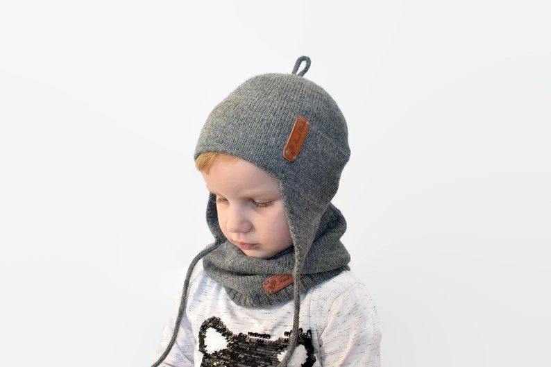 20cc4d3e16e WOOL ALPACA knitted gray ear flap warm winter hat for kid