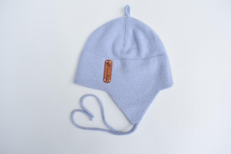 ddce3a148e9 WOOL ALPACA knitted blue ear flap warm hat for kid winter