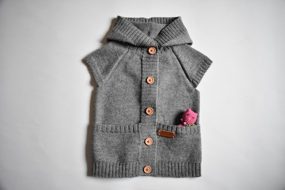 c2adf846cd05 WOOL ALPACA knitted warm vest with hood for kid winter