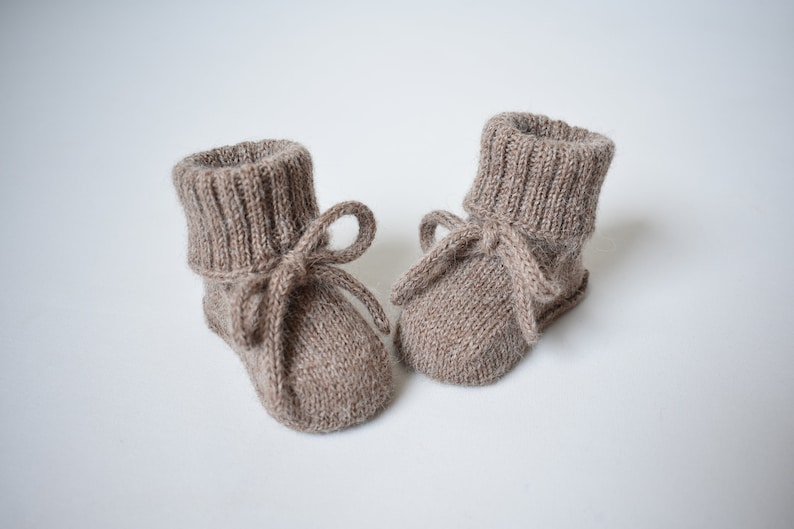 b2a1ccfd86f9d WOOL ALPACA knitted warm baby booties long socks for newborn crib shoes for  baby newborn gift baby shower boy girl gray pink white
