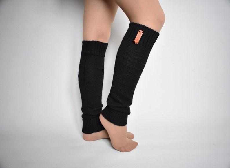 a63ed0c40 Wool with alpaca wool knitted black leg warmers warm long