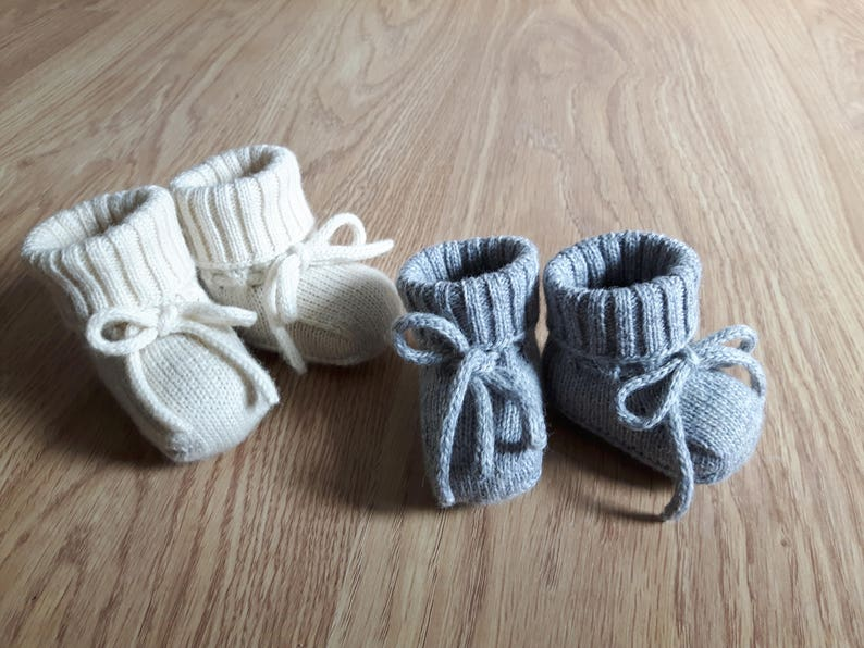 a2dac1906bed1 WOOL ALPACA knitted baby booties socks for newborn knitted shoes for baby  crib shoes newborn gift boy girl white gray pink