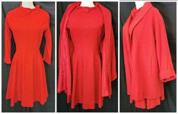 Jonathan Logan Radiant RED Wool Dress & Swing Coat