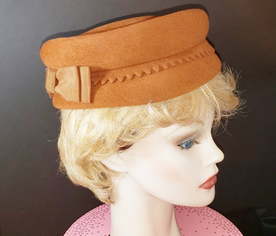 Mid-Century Copper-Colored Pill Box Hat  1960's
