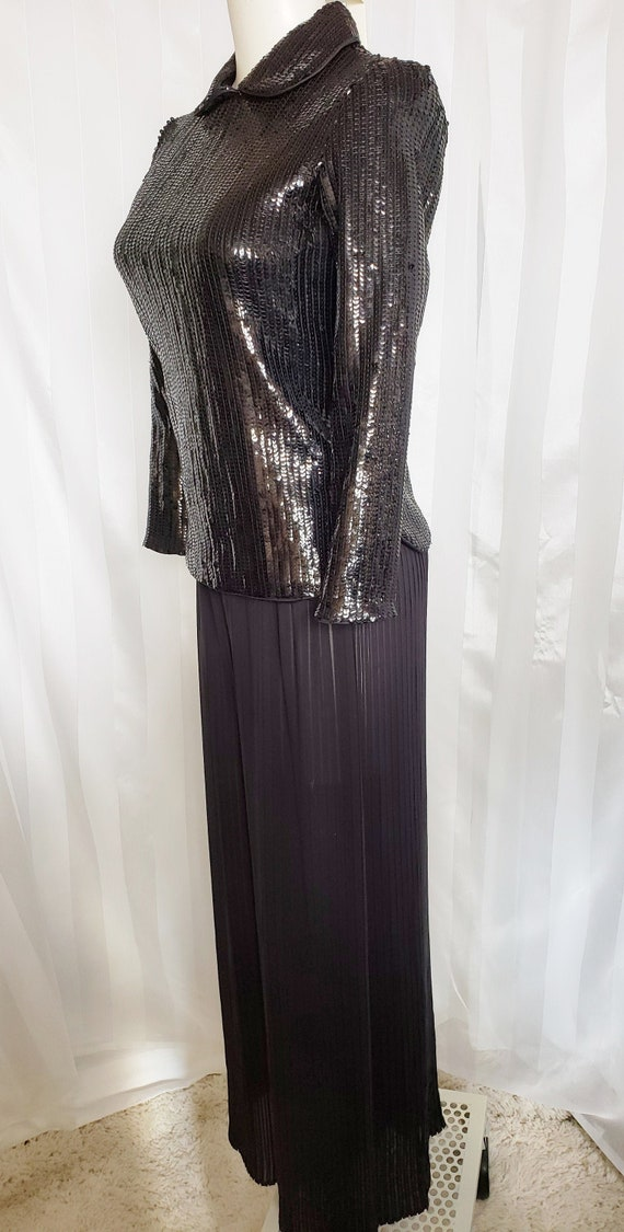 Pleated Palazzo Pants & Sequinned Top  1960's