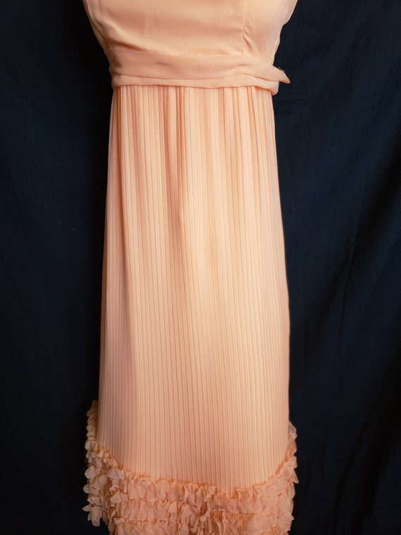 Ruffles & Pleats a'Plenty Peach Gown - image 9