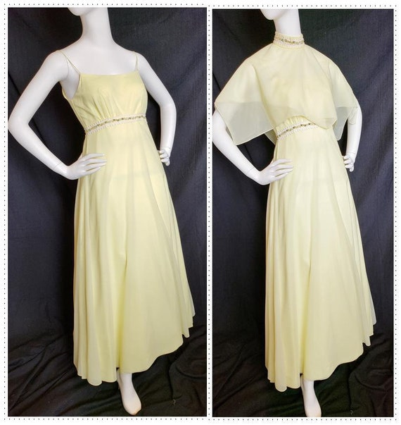 1960's Lemon Chiffon Dreamy Dress