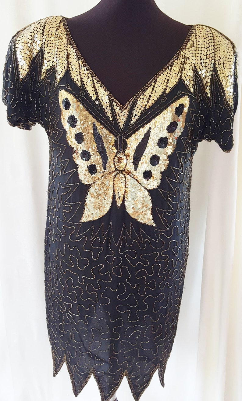1920s Party Dresses, Great Gatsby Gowns, Prom Dresses 70s BUTTERFLY Dress to take Flight in! 1970s SophisticatedLaRue $72.00 AT vintagedancer.com