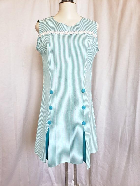 Daisies & Seersucker Summertime Day Dress  1960's - image 2