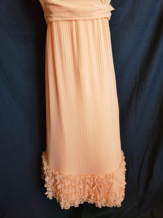 Ruffles & Pleats a'Plenty Peach Gown - image 2