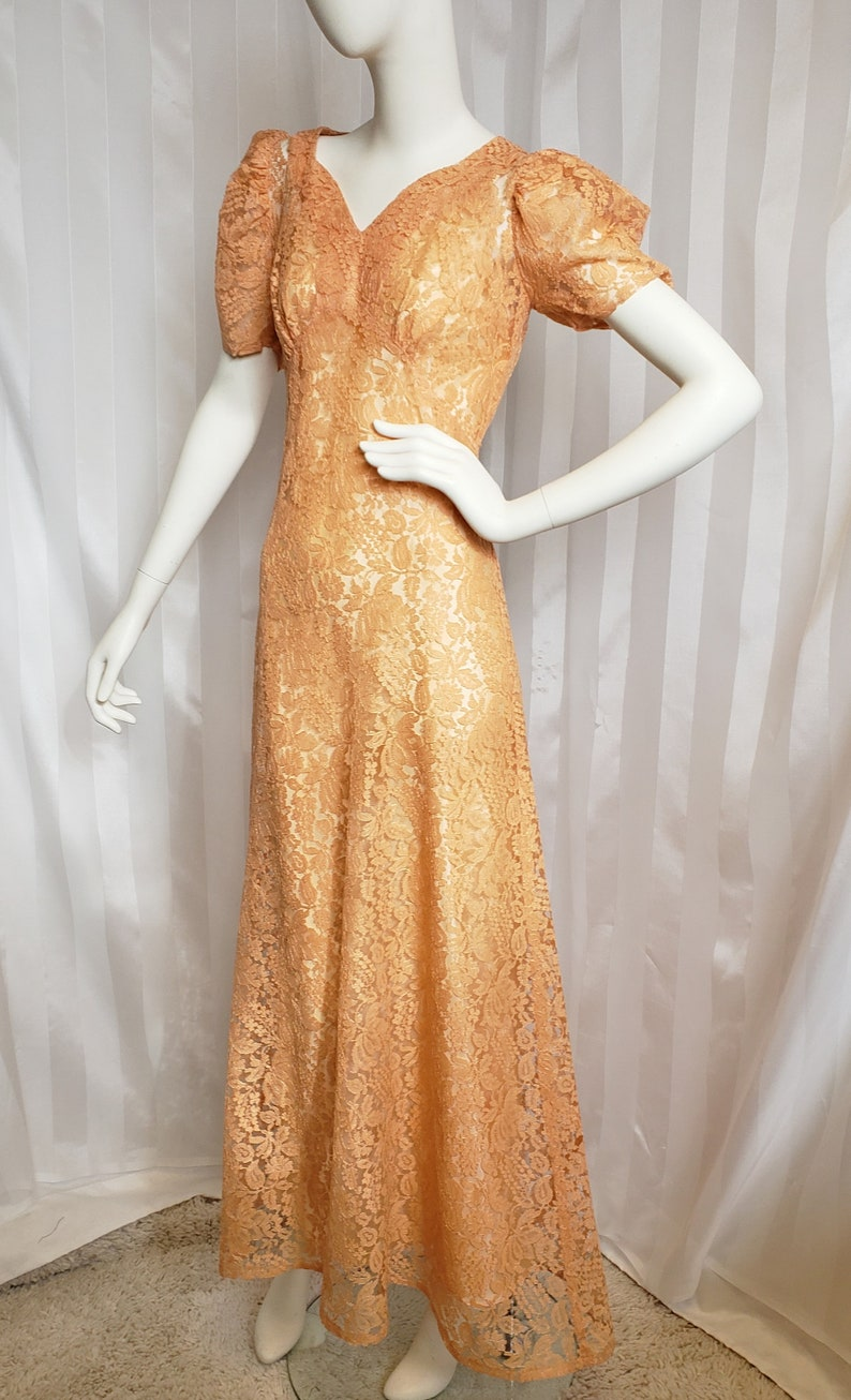 1930s Evening Dresses | Old Hollywood Silver Screen Dresses 1930s Lace Evening Gown with Matching Slip SophisticatedLaRue $148.00 AT vintagedancer.com
