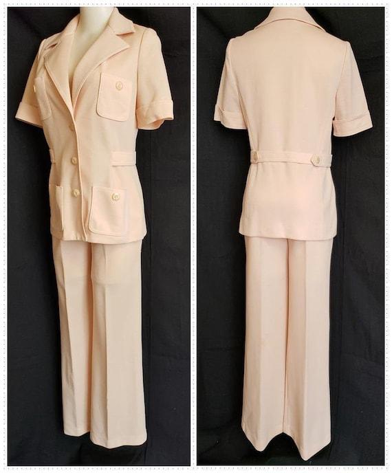 1970's BUTTE KNIT Apricot Safari Pant Suit