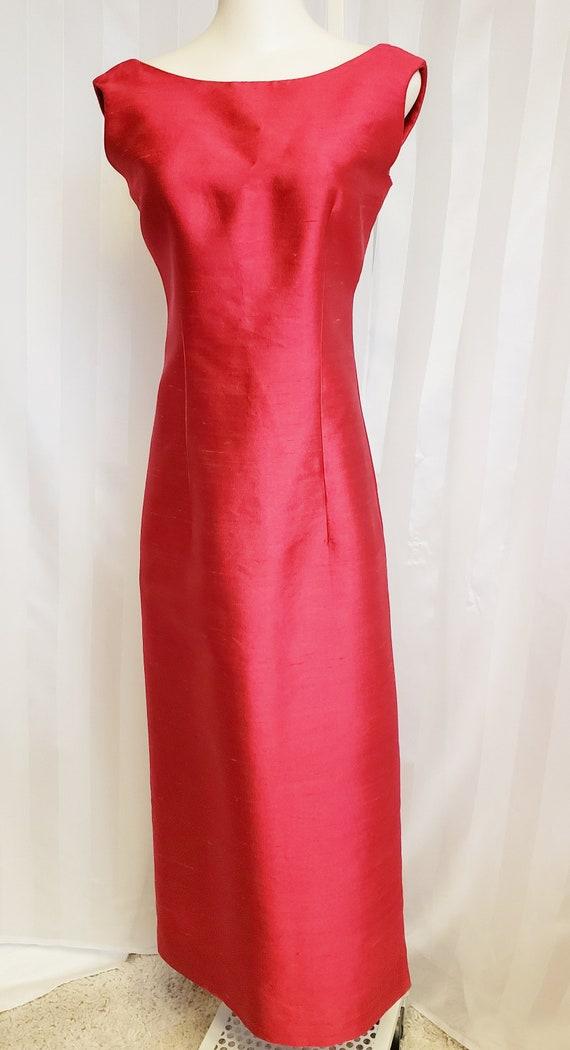 Cheery, Cherry Pink Long Silk Dress  1960's