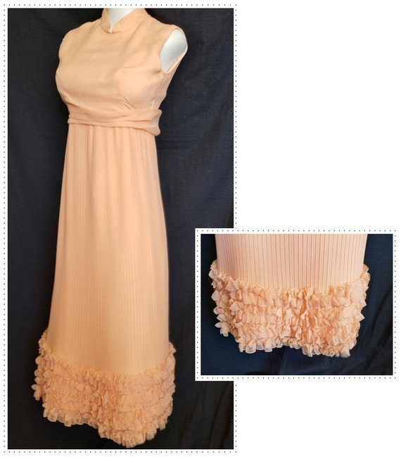 Ruffles & Pleats a'Plenty Peach Gown - image 1