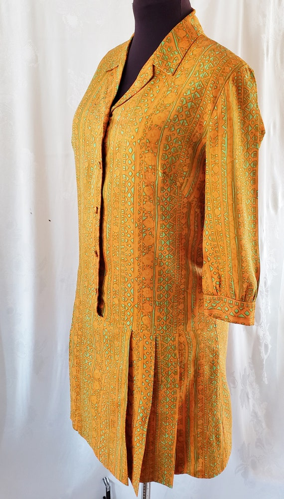 1960's Colorful Pleated Drop-Waist Dress