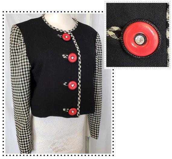 1940's Style 2-Tone Jacket, Black, White & Red