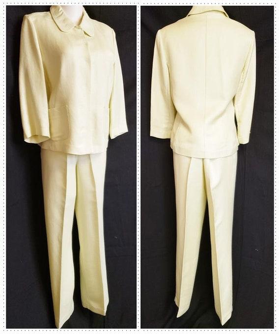 Linen Lime-Light Emma James Pant Suit - Mid-Centu… - image 1