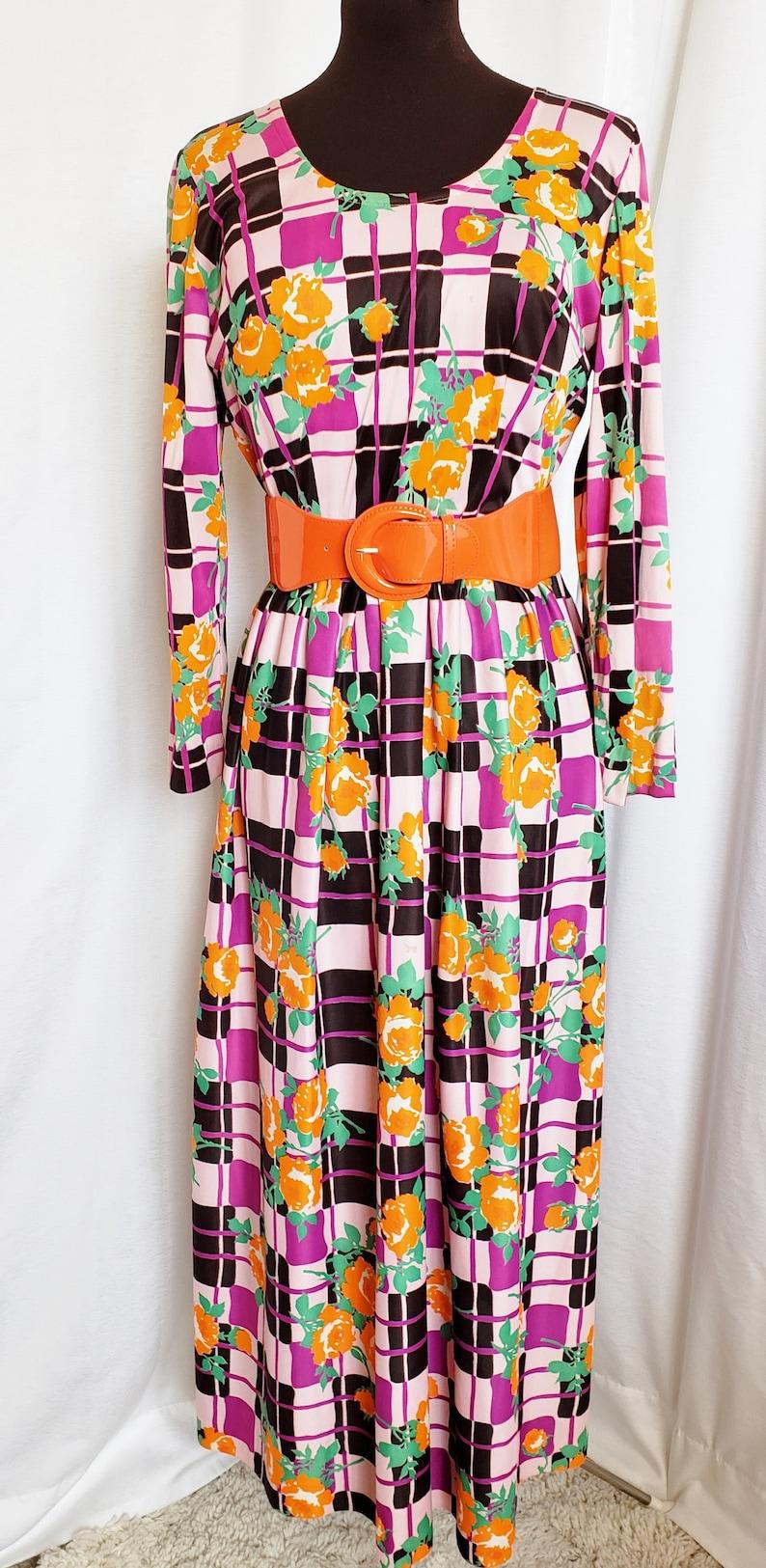 70s Dresses – Disco Dress, Hippie Dress, Wrap Dress So Sensationally Smashing SIXTIES Maxi!! 1960s SophisticatedLaRue $74.00 AT vintagedancer.com