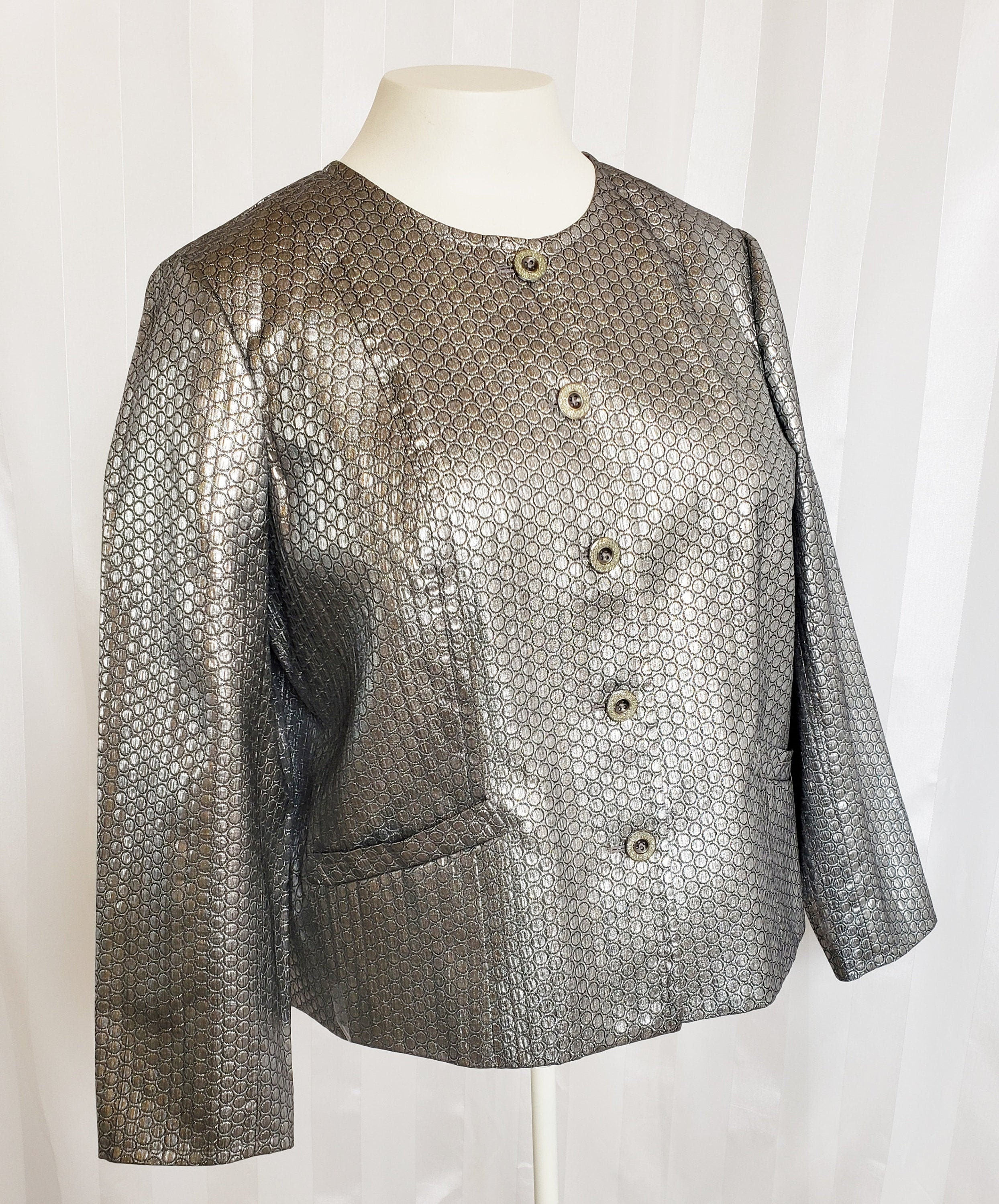60s -70s Jewelry – Necklaces, Earrings, Rings, Bracelets Laura Ashley Silver Gray Jacket, Size Xl $72.00 AT vintagedancer.com